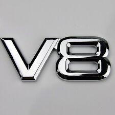 1pc 3D Silver 6*3cm Auto Motorcycle V8 Car Rear Metal Emblem Decal Badge Sticker