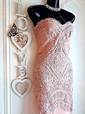 LIPSY VIP SZ 14 LACE EMBELLISHED NUDE SWEETHEART BANDEAU MAXI DRESS NWT RRP £130