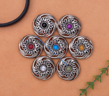 10X Bohemian 3D Flower Turquoise Conchos For Leather Craft Keychian Wallet Decor