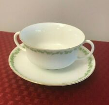 Vintage China Two Handle Cream Soup Dish w/Saucer Underplate - Estate Find