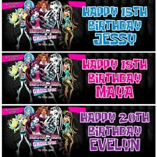 2 Personalised Monster High Dolls Birthday Celebration Banners Decoration Poster