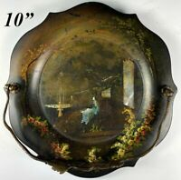 """Antique Victorian Jennens & Bettridge Signed Papier Mâché 10"""" Card Tray, Peacock"""