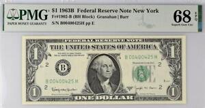 1963b $1 New York BARR Federal Reserve Note FRN *Superb Gem 1902-B • PMG 68 EPQ