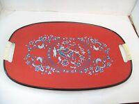 "Vintage Mid Century Japan Masonite Serving Tray Platter Floral 12""x18"" D9"
