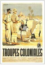 AFFICHE TROUPES COLONIALES 50cm X 70cm RARE Armée Française