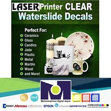 LASER Water Slide Decal Paper -  5 Sheets - CLEAR A4