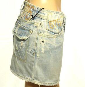 575 Denim Women's Mini Skirt Distressed Button Fly Jeans Cotton Size 25