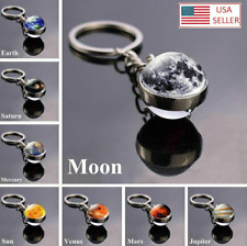 Solar System Planet Galaxy Nebula Keychain Pendant Double Side Glass Ball Gifts