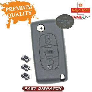 Fits Citroen Berlingo or DISPATCH 3 Button KEY FOB REMOTE CASE Repair Kit CE0536