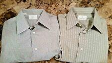 Ermenegildo Zegna Lot 2 Stripe Checkered Dress Shirt 39 / 15.5 S Button Down