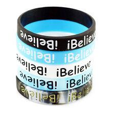 5pcs I Believe Silicone Bracelet Rubber Unisex Sports Wristband Basketball