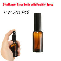 1/3/5/10 30ml Amber Glass Bottles With Fine Mist Spray For Aromatherapy Perfume