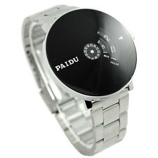 Stainless Silver Band PAIDU Quartz Wrist Watch Black Turntable Dial Mens Joli