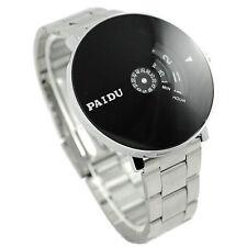 Stainless Silver Band PAIDU Quartz Wrist Watch Black Turntable Dial Mens Joli