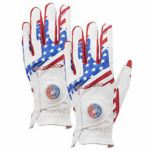 Copper Tech Golf Gloves, 2-pack - RED/WHITE/BLUE RIGHT HANDED * FAST SHIPPING *