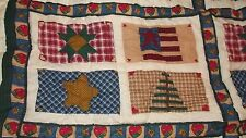 """Quilted Throw or Wall Hanging Blanket 50X60"""" Patchwork Flag-Star-Heart Design"""