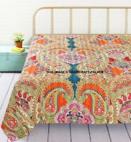 Indian Style Handmade Quilt Paisley Print Kantha Bedspread-Throw-Queen-Blanket