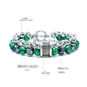 Stainless Steel Chain Hook Bangles Natural Malachite Hematite Bead Bracelets