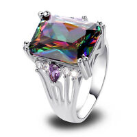Wedding Amethyst Rainbow & White Topaz Gemstone AAA Silver Ring Size 7 8 9 10