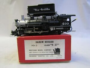 WESTSIDE MODEL CO HOn3 BRASS D&RGW K-37 2-8-2 RD# 499 ORIGINAL BOX & FOAM TESTED