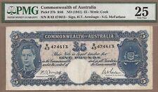 AUSTRALIA: 5 Pounds Banknote, (VF PMG25), P-27b, 1941,No Reserve!