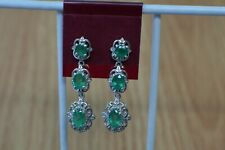 1.95ct Colombian Emerald Dangle Earrings Platinum over Sterling Silver