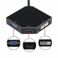 3in1 Display Port Stecker to HDMI DVI VGA Buchse Kabel Adapter HDTV AV Konverter