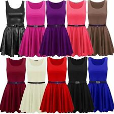 New Womens Plus Size Sleeveless Top Belted Flared Ladies Skater Dress 16-26