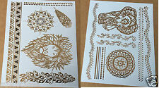 hot 2 sheets Temporary Metallic Tattoo Lion elephant Waterproof Flash Inspired