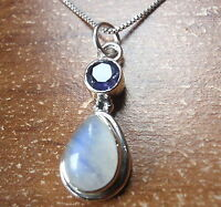 Small Faceted Iolite and Moonstone 925 Sterling Silver Pendant Corona Sun
