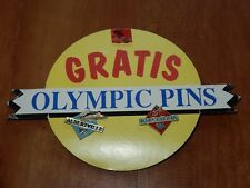 OLYMPICS SHOP DISPLAY SIGN 'GRATIS OLYMPIC PINS' 1992 ALBERTVILLE BARCELONA