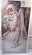 """Victorian Lithograph Print Picture """"Flowers In The Snow"""" Angel Girl 12X23.5"""