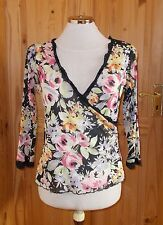 1MAX  pink lilac green stretch chiffon floral 3/4 sleeve v neck tunic top 14