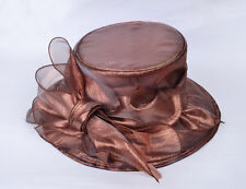Sombrero Mujer Chocolate Marrón organdí Nupcial organza para eventos LAZO plumas
