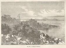 A4944 Sebenico - Panorama - Xilografia - Stampa Antica del 1895 - Engraving