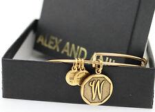 NEW Alex and Ani Rafaelian Gold Finish Initial W Bangle with Tag, Box, and Card