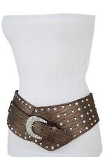 Fancy Women Brown Wide Band Western Fashion Belt Metal Bling Buckle Plus L XL