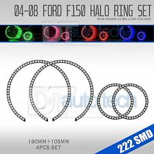 04-08 F-150 Bluetooth Multi-Color Angel Eyes LED RGB Headlight Halo Ring Set