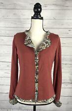 Soft Surroundings Cashmere Silk blend Orange Sweater Cardigan Sz M Paisley Lined
