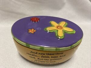 Tumbleweed Pottery Ceramic Oval Box Trinkets Footed w Lid Live Love Laugh Yellow