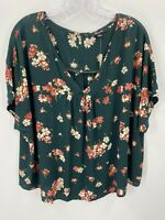 Madewell Rhyme Top in Spruce Blooms Womens XL Blouse Short Sleeve V Neck Floral