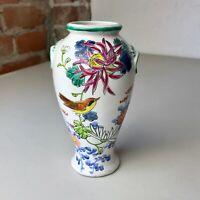 "Vintage White Ceramic Vase 6"" Bird Flowers Made in Japan 21-5 B Pink Blue Green"