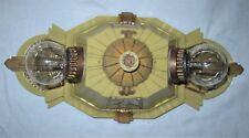 VINTAGE DECO CAST METAL LINCOLN FLUSH CEILING LIGHT FIXTURE CHANDELIER  1930