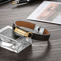 Personalized Leather Bracelet Free Engraved Stainless Steel Cuff For Men Women