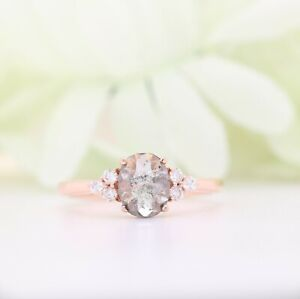 Salt and Pepper Oval Diamond 4 Prongs 14K Rose Gold Engagement Ring