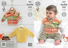 King Cole 4201 Knitting Pattern Baby Boys Sweater and Tank Top