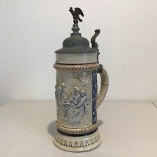 Vintage Large Ceramic Stein with Metal Lid. Made in Germany 33 cm Tall #939