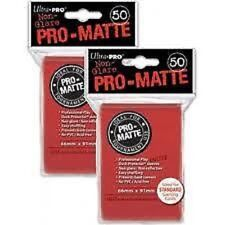 (100) ULTRA PRO Card Sleeves *PRO-MATTE RED* DECK PROTECTORS MTG Pokemon
