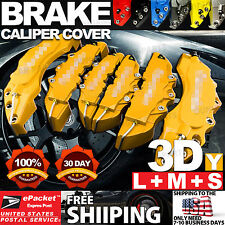 """3D Universal Style Disc Brake Caliper Cover front rear 6 pcs Yellow 10.5"""" LW03"""