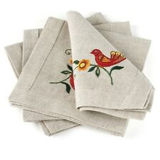 "Table Napkins / Set of 4 / Gray / Tree of Life / 16""x16"" / 100% European Linen"